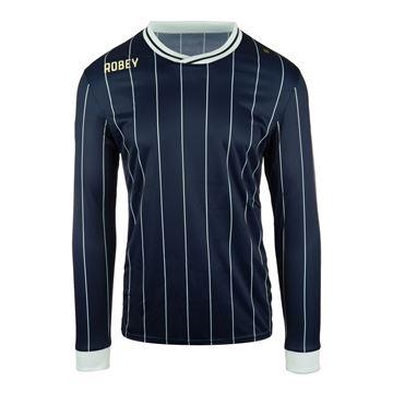 Afbeeldingen van Robey Pinstripe Voetbalshirt - Navy Blauw (Lange Mouwen)